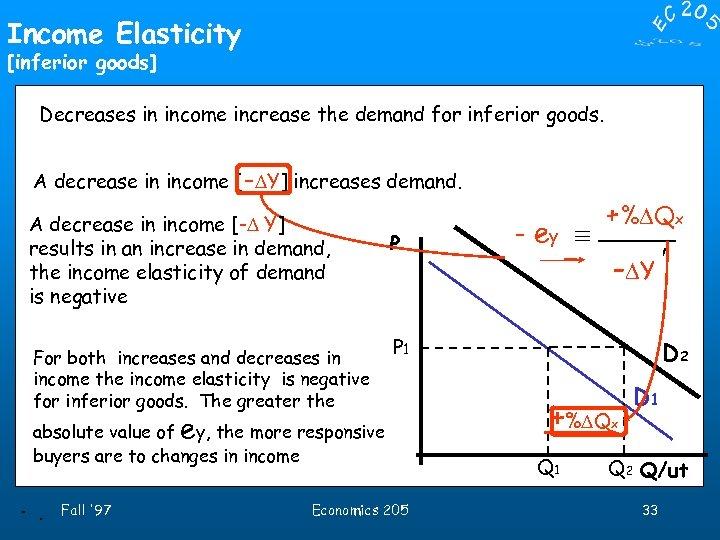 Income Elasticity [inferior goods] Decreases in income increase the demand for inferior goods. A