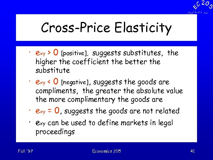 Cross-Price Elasticity · exy > 0 [positive], suggests substitutes, the higher the coefficient the