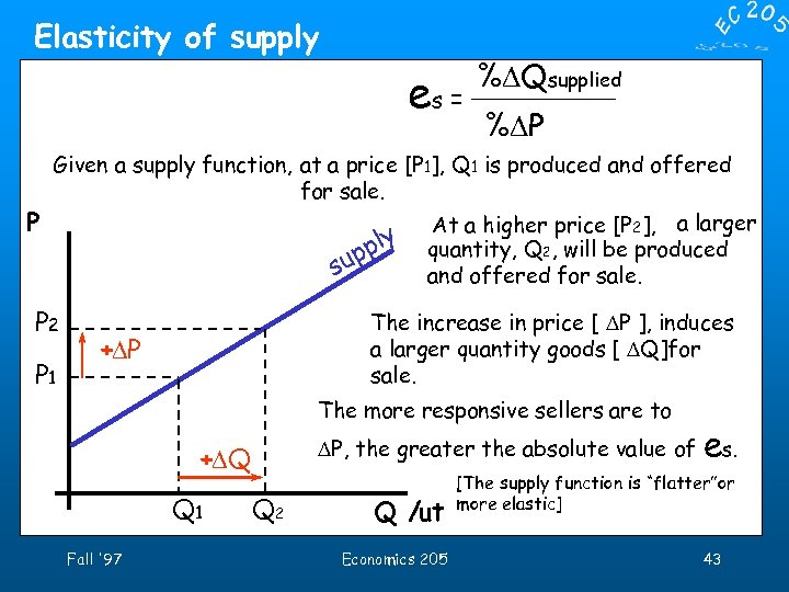 Elasticity of supply es = P %DQsupplied %DP Given a supply function, at a