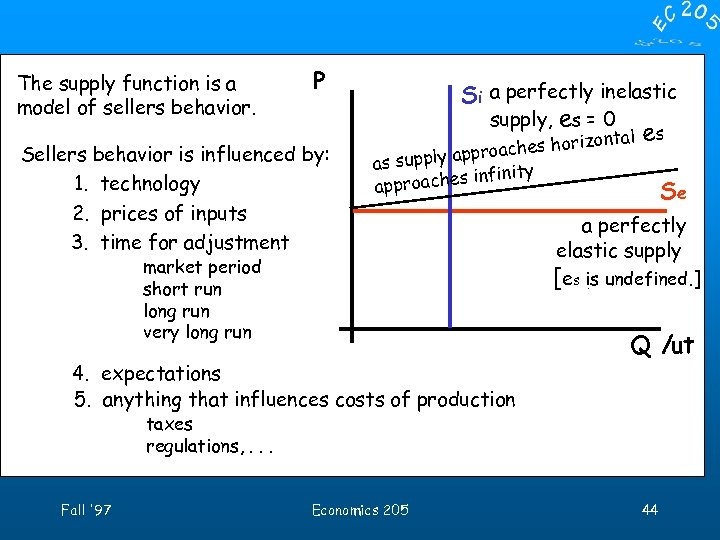The supply function is a model of sellers behavior. P Sellers behavior is influenced