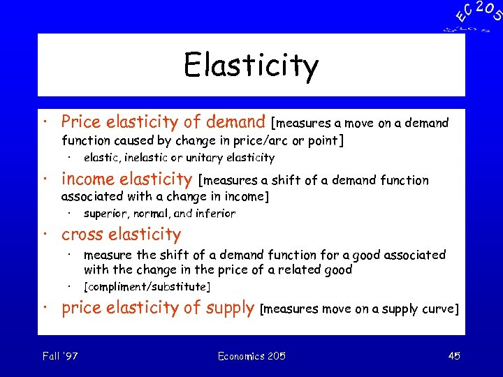 Elasticity · Price elasticity of demand [measures a move on a demand function caused