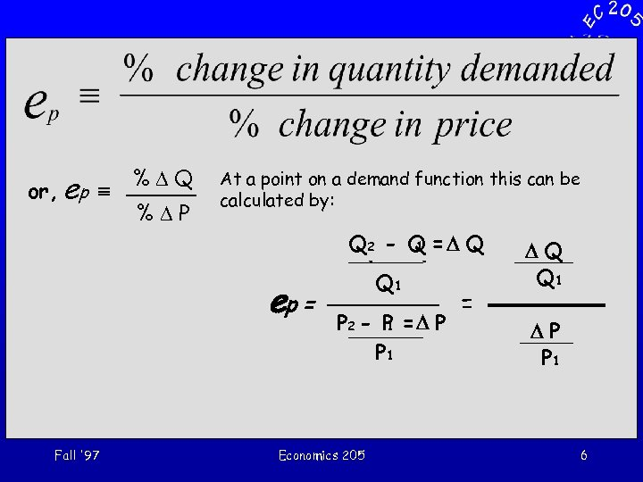 or, ep º %DQ %DP At a point on a demand function this can