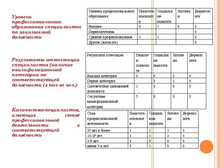 Уровень профессионального образования специалистов по занимаемой должности Результаты аттестации специалистов (наличие квалификационной категории по