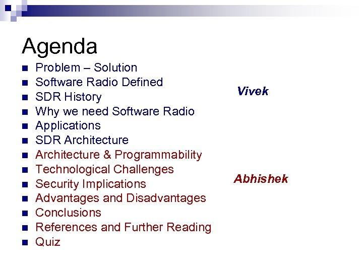 Agenda n n n n Problem – Solution Software Radio Defined SDR History Why