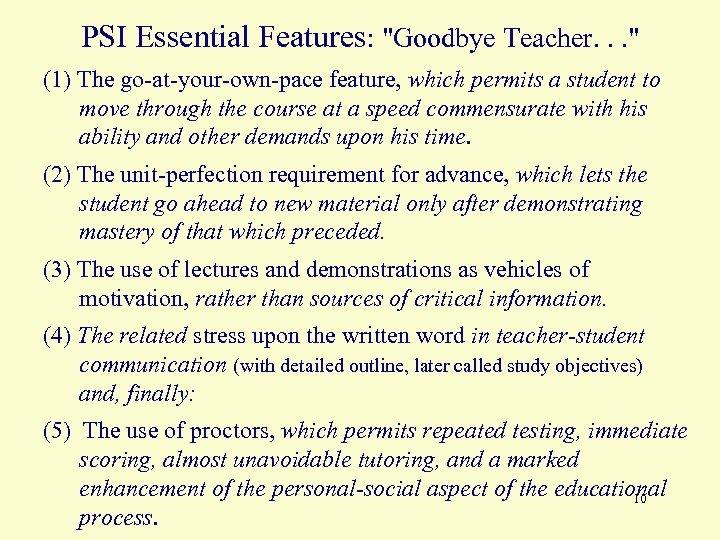 PSI Essential Features: