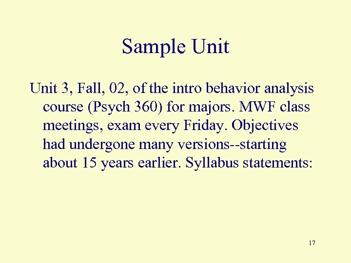 Sample Unit 3, Fall, 02, of the intro behavior analysis course (Psych 360) for