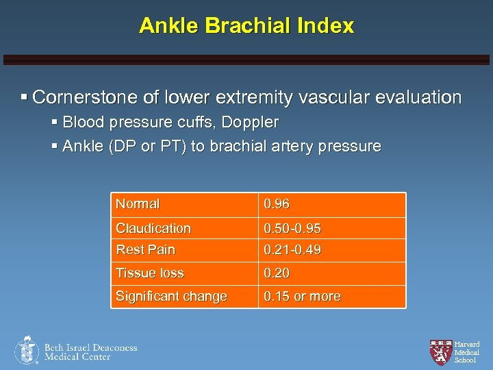 Ankle Brachial Index § Cornerstone of lower extremity vascular evaluation § Blood pressure cuffs,
