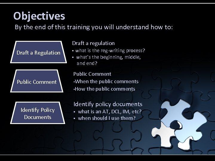Objectives By the end of this training you will understand how to: Draft a