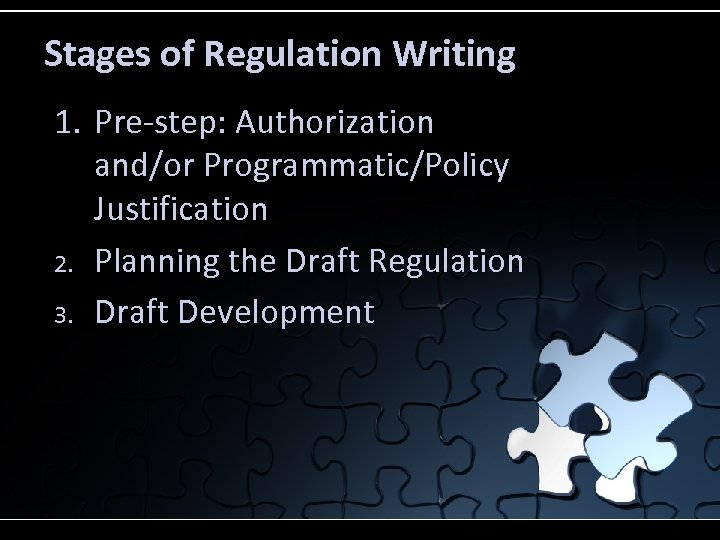 Stages of Regulation Writing 1. Pre-step: Authorization and/or Programmatic/Policy Justification 2. Planning the Draft
