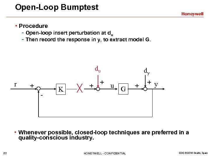 Open-Loop Bumptest • Procedure - Open-loop insert perturbation at du - Then record the
