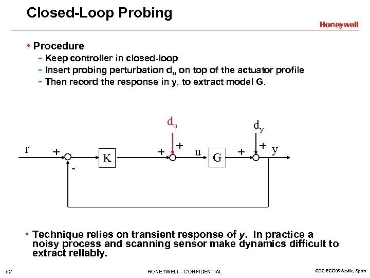 Closed-Loop Probing • Procedure - Keep controller in closed-loop - Insert probing perturbation du