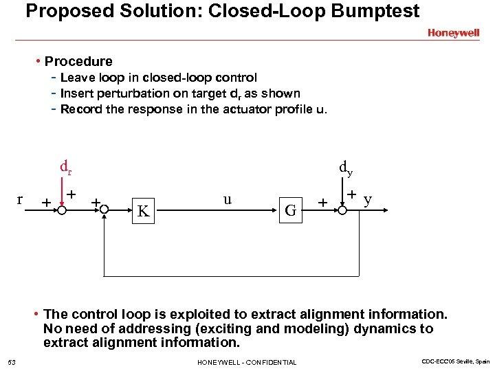 Proposed Solution: Closed-Loop Bumptest • Procedure - Leave loop in closed-loop control - Insert