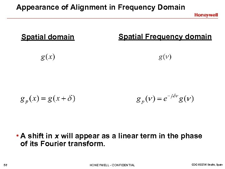 Appearance of Alignment in Frequency Domain Spatial domain Spatial Frequency domain • A shift