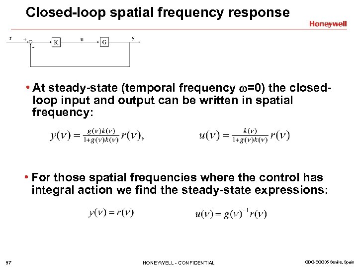 Closed-loop spatial frequency response • At steady-state (temporal frequency =0) the closedloop input and