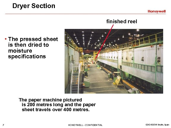 Dryer Section finished reel • The pressed sheet is then dried to moisture specifications