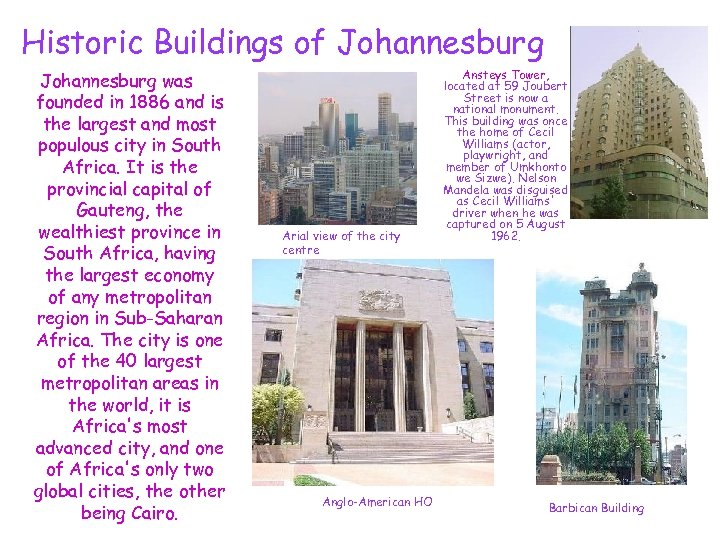 Historic Buildings of Johannesburg was founded in 1886 and is the largest and most