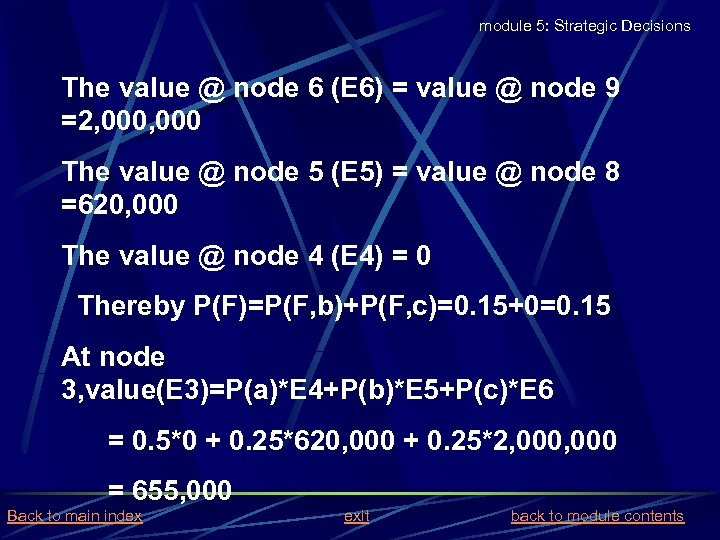 module 5: Strategic Decisions The value @ node 6 (E 6) = value @