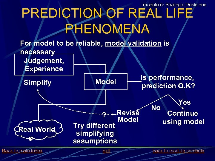 module 5: Strategic Decisions PREDICTION OF REAL LIFE PHENOMENA For model to be reliable,