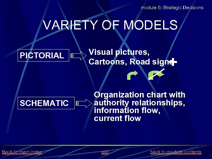 module 5: Strategic Decisions VARIETY OF MODELS PICTORIAL SCHEMATIC Back to main index Visual