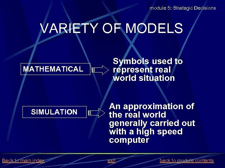 module 5: Strategic Decisions VARIETY OF MODELS MATHEMATICAL SIMULATION Back to main index Symbols