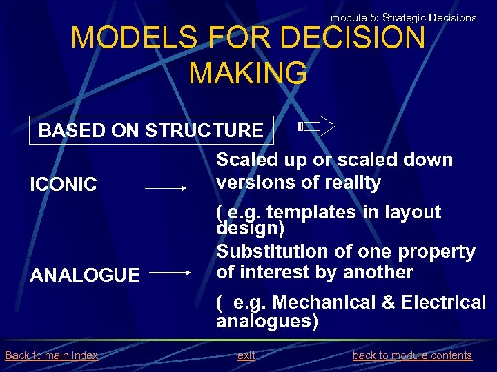 module 5: Strategic Decisions MODELS FOR DECISION MAKING BASED ON STRUCTURE Scaled up or