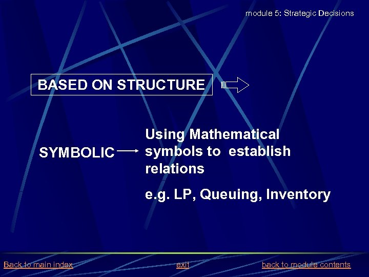 module 5: Strategic Decisions BASED ON STRUCTURE SYMBOLIC Using Mathematical symbols to establish relations