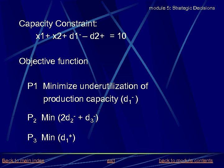 module 5: Strategic Decisions Capacity Constraint: x 1+ x 2+ d 1 - –