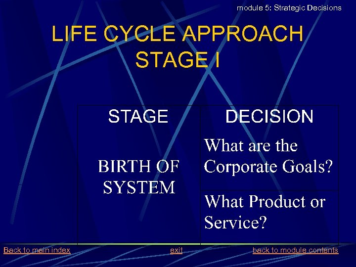 module 5: Strategic Decisions LIFE CYCLE APPROACH STAGE I Back to main index exit