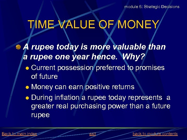 module 5: Strategic Decisions TIME VALUE OF MONEY A rupee today is more valuable