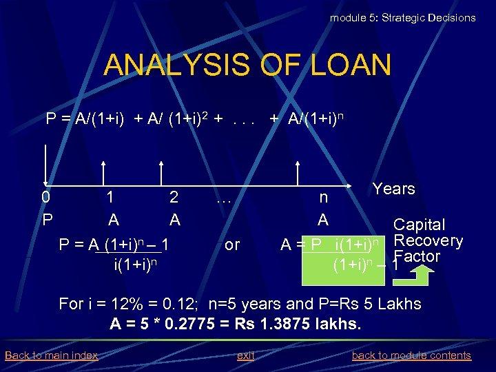 module 5: Strategic Decisions ANALYSIS OF LOAN P = A/(1+i) + A/ (1+i)2 +.