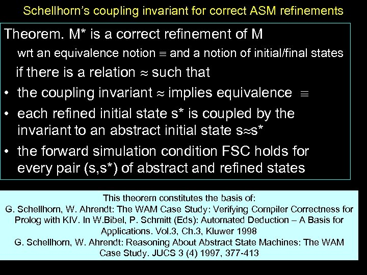 Schellhorn's coupling invariant for correct ASM refinements Theorem. M* is a correct refinement of