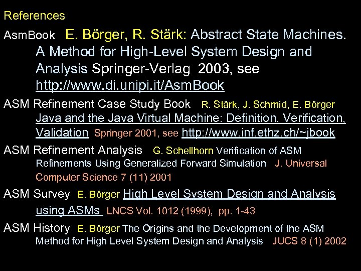 References Asm. Book E. Börger, R. Stärk: Abstract State Machines. A Method for High-Level