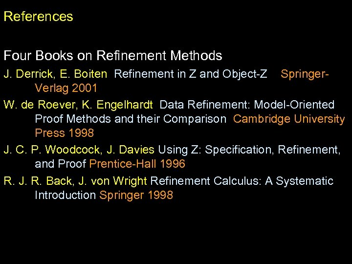 References Four Books on Refinement Methods J. Derrick, E. Boiten Refinement in Z and
