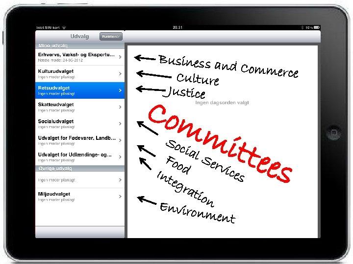 Business an d Commerce Culture Justice Com mit tees Soc ial Foo Ser vic
