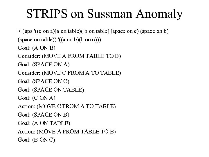 STRIPS on Sussman Anomaly > (gps '((c on a)(a on table)( b on table)