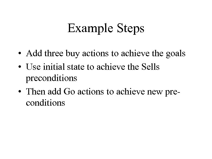 Example Steps • Add three buy actions to achieve the goals • Use initial