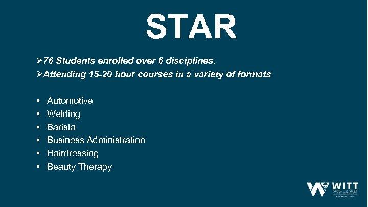 STAR Ø 76 Students enrolled over 6 disciplines. ØAttending 15 -20 hour courses in