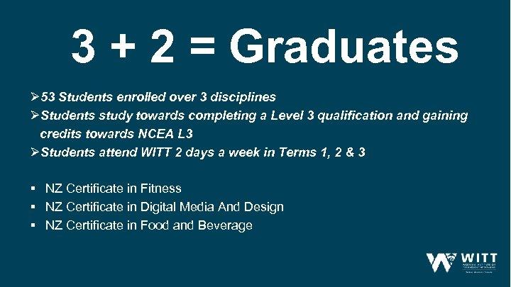 3 + 2 = Graduates Ø 53 Students enrolled over 3 disciplines ØStudents study