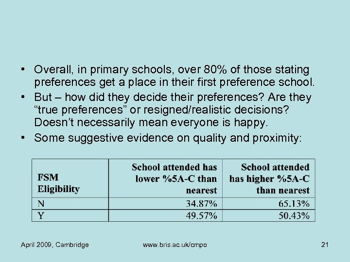 • Overall, in primary schools, over 80% of those stating preferences get a