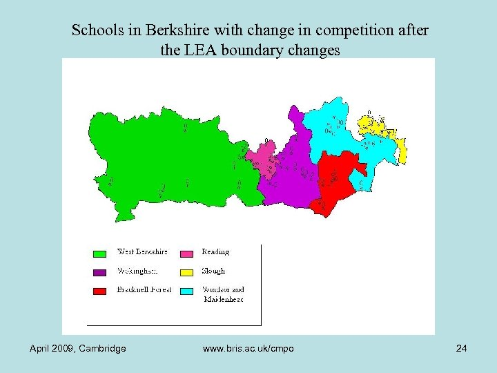 Schools in Berkshire with change in competition after the LEA boundary changes April 2009,