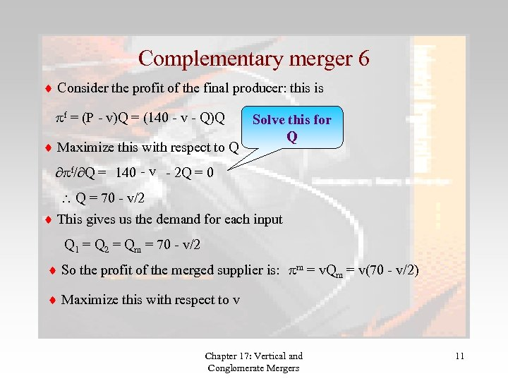 Complementary merger 6 Consider the profit of the final producer: this is pf =
