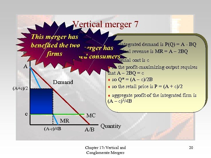 Vertical merger 7 This merger has the benefited the two merger has integrated demand