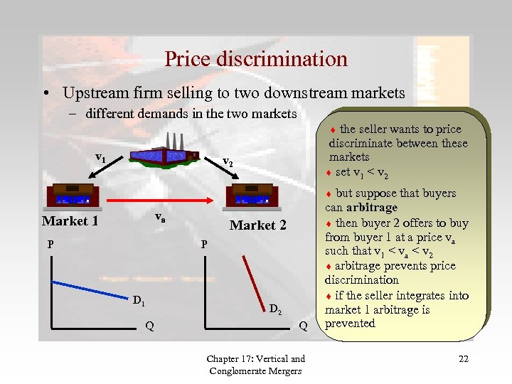 Price discrimination • Upstream firm selling to two downstream markets – different demands in