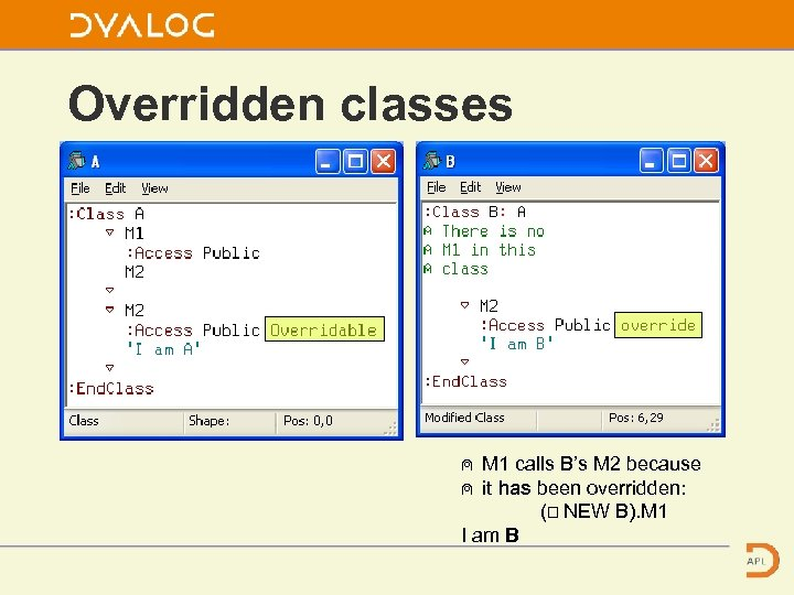 Overridden classes ⍝ M 1 calls B's M 2 because ⍝ it has been
