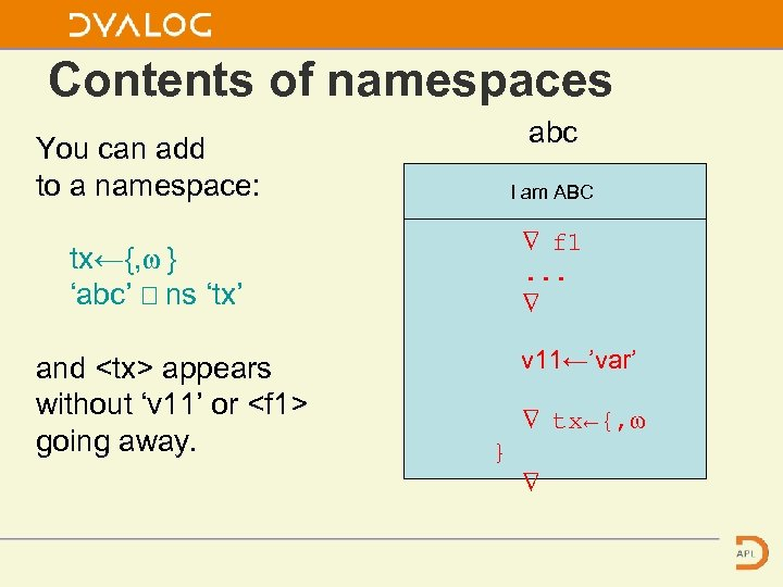 Contents of namespaces abc You can add to a namespace: I am ABC ∇