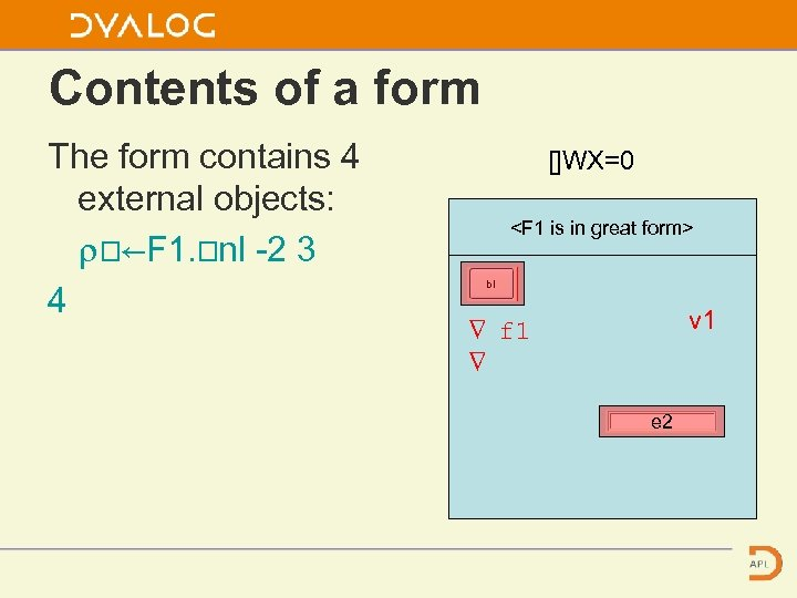 Contents of a form The form contains 4 external objects: ⍴⎕←F 1. ⎕nl -2