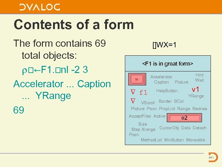 Contents of a form The form contains 69 total objects: ⍴⎕←F 1. ⎕nl -2