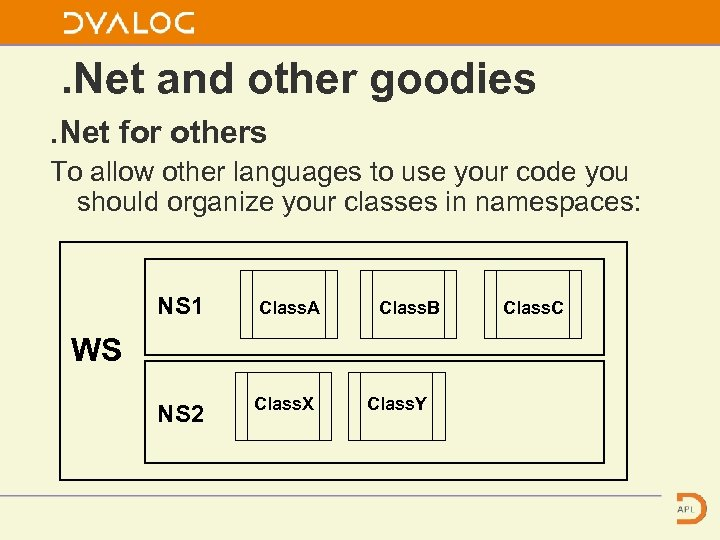 . Net and other goodies. Net for others To allow other languages to use
