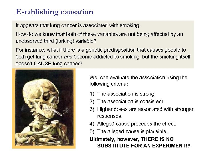 Establishing causation It appears that lung cancer is associated with smoking. How do we