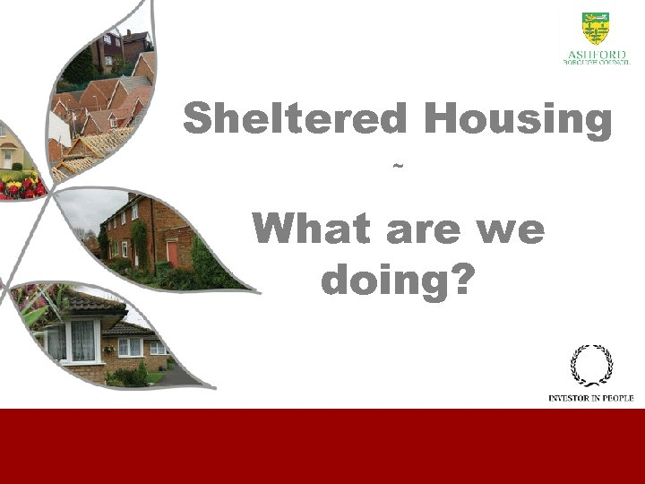 Sheltered Housing ~ What are we doing?